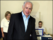 Binyamin Netanyahu casts his vote at a polling station in Jerusalem, 14 August 2007
