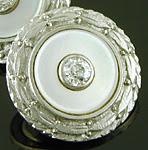 Carrington diamond and mother-of-pearl cufflinks. (J9463)