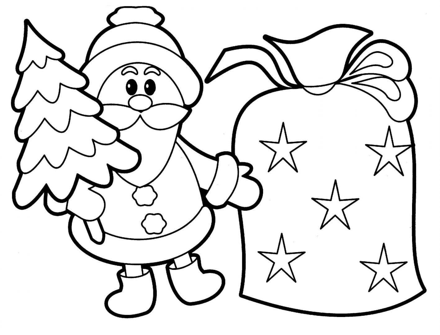Imagen De Santa Claus Con Pino De Navidad Para Dibujar Y Colorear