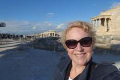 Jo Karnaghan in sunglasses in Athens at the Acropolis
