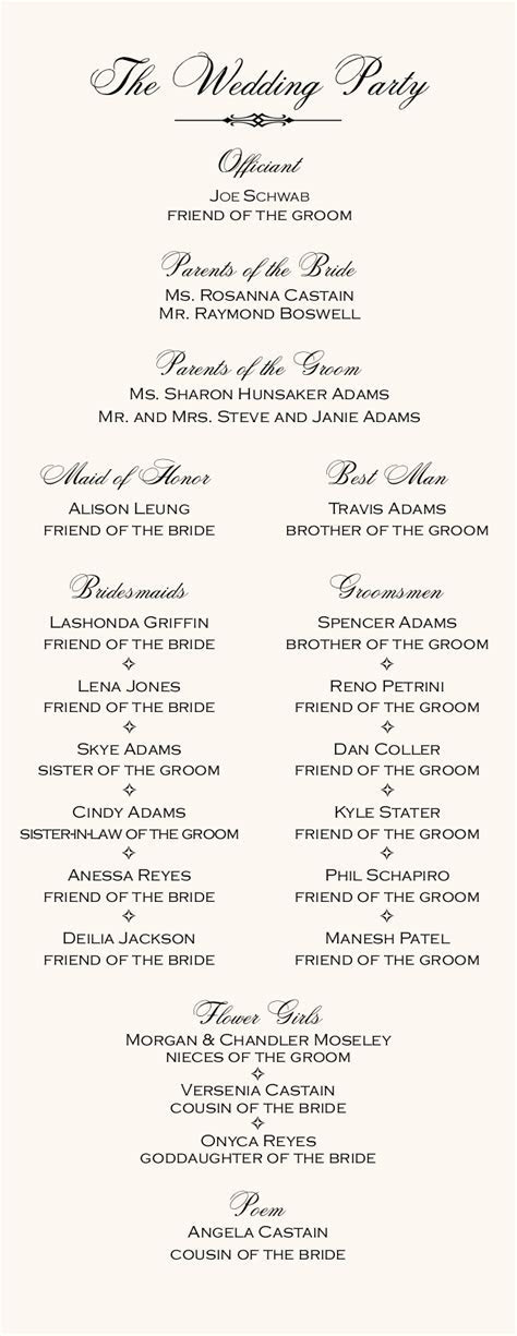 Italian Wedding Programs Wedding Directories Order of
