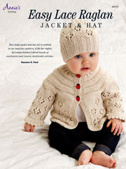 Easy Lace Raglan Jacket & Hat Knit Pattern - Electronic Download