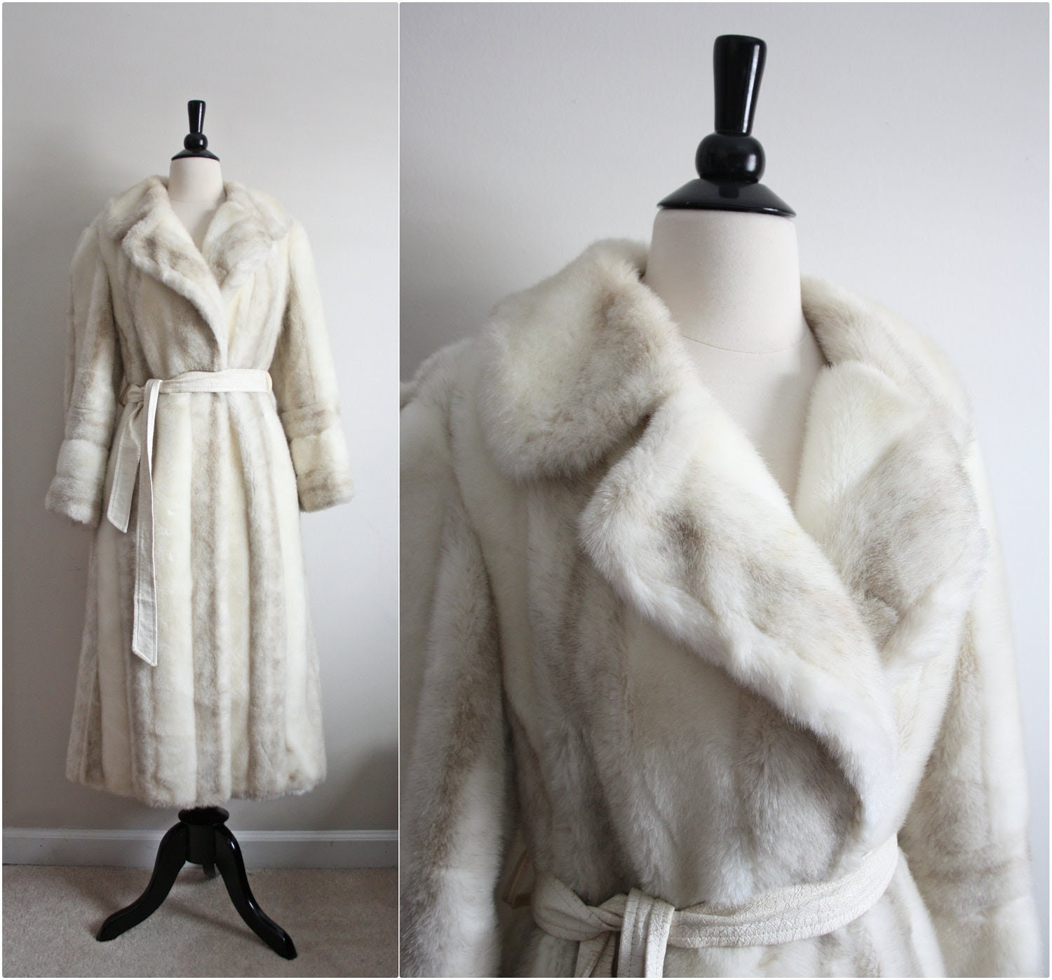 70s Winter white Joli Pel Faux Fur long fold over Coat. Size M/L - PARASOLvintage