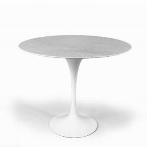 RT335SWHITE Tulip Occasional Table w Marble Top & Aluminum Base
