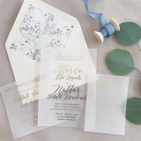 translucent vellum wedding invitations with gold foil