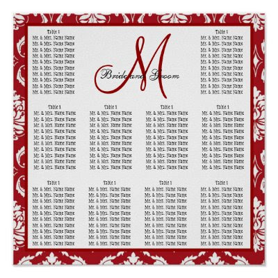Template Wedding Seating Chart Red Damask Poster by monogramgallery