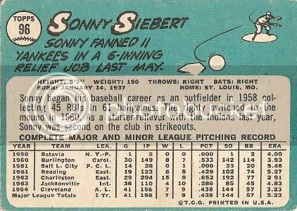 #96 Sonny Siebert (back)