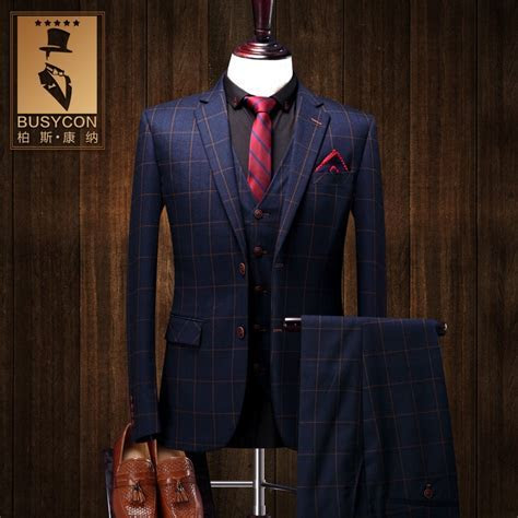 Navy Blue Mens Plaid Suits Wedding Groom Latest Coat Pant