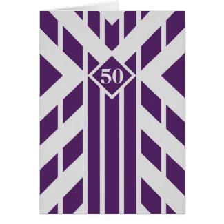 Purple Quadrangle Stripes on Grey 50th Birthday Greeting Card