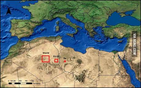 The total area of solar panels it would take to power the world, Europe, and Germany.