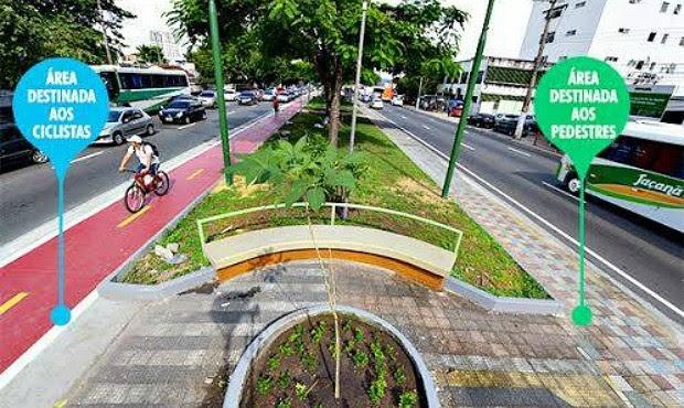 Prefeitura divulgou foto de projeto em seu Facebook; imagem mostra faixa de pedestre e área destinada a ciclistas (Foto: Reprodução/Facebook)