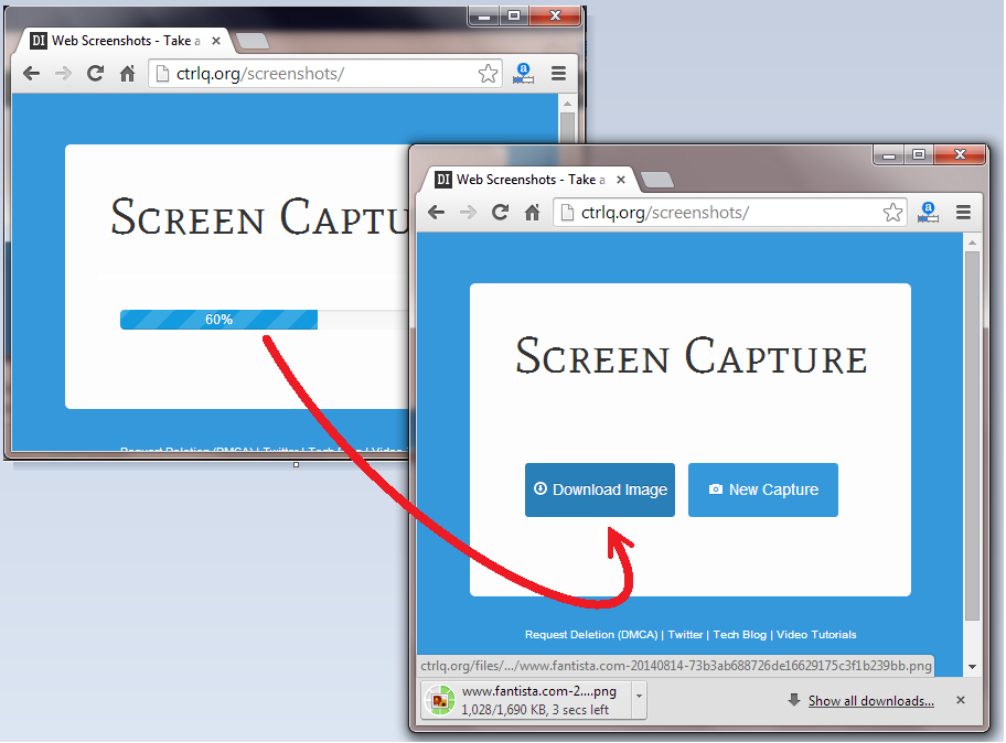 download captured webpage screenshot