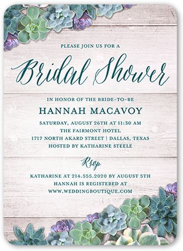 spectacular succulents  bridal invitation shutterfly