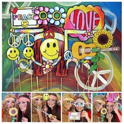 hippie photo booth props perfect for a 60s or flower power