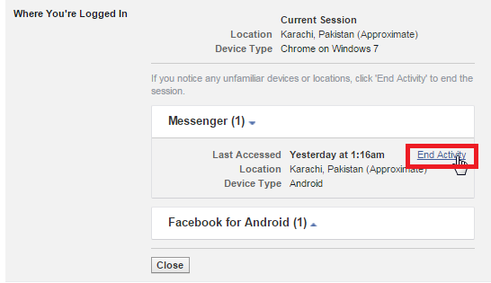 How To Logout Your Facebook Account From Different Location