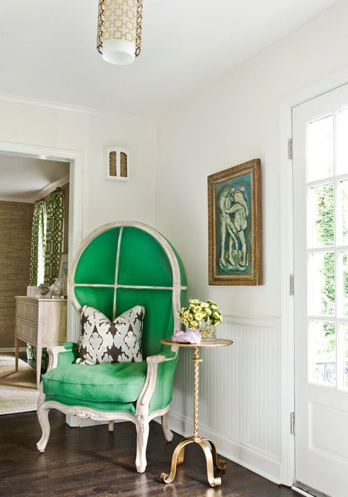 Melanie Turner Interiors Fantastic entry with chair rail and beadboard Kelly Wearstler