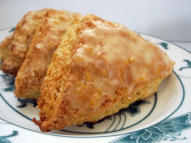 orange buttermilk scones with orange glaze