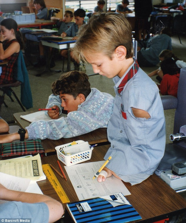Nick at school as a ten-year-old child. His parents decided not to send him to a special school - a decision he said was very hard for him, but which may have been the best decision they could have made for him
