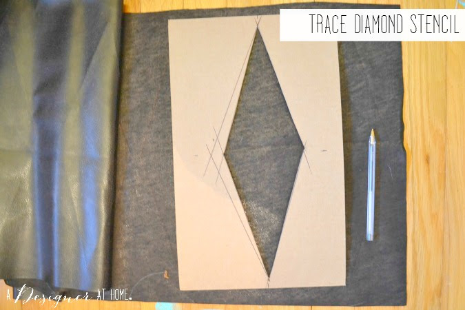 trace diamond stencil onto contrasting color of leather fabric