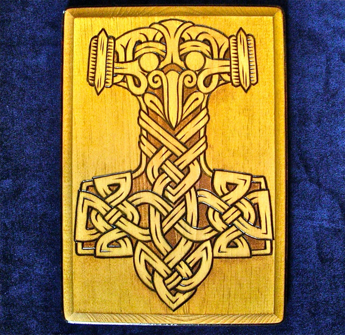 Eagle-headed Mjollnir w/ knotwork wood plaque