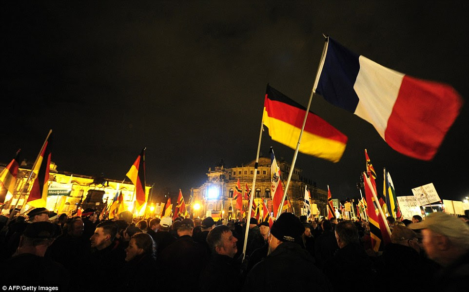 In Germany, the year-old PEGIDA protest movement - short for Patriotic Europeans Against the Islamisation of the Occident - was hoping to draw large crowds for their Monday protest in the eastern city of Dresden