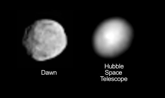 Images comparing the latest photo of asteroid Vesta taken by the Dawn spacecraft to an earlier picture shot by the Hubble Space Telescope.