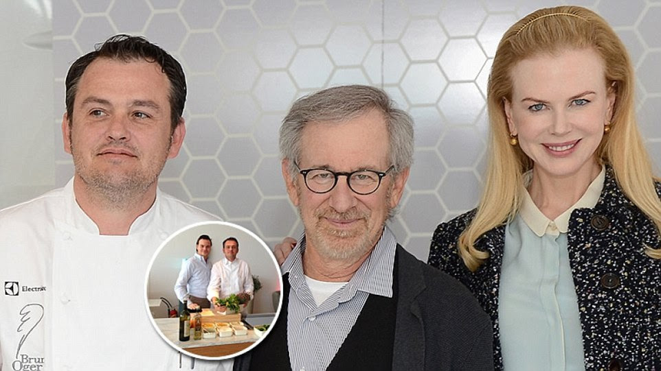 Chef Bruno Oger (left) cooks for the stars and jury every day down at the Palais des Festivals, and will be in charge - for the sixth year on the trot - of the opening night gala dinner for 700. He is pictured here with Steven Spielberg and Nicole Kidman