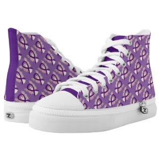 Purple Awareness Ribbon Angel Custom Sneakers Printed Shoes