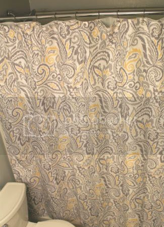 Gray and Yellow Paisley Shower Curtain