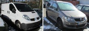 Die Fahrzeuge der Täter: Renault Trafic (l.), VW Touran (r.)