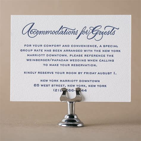 Letterpress direction and accommodation cards from Bella