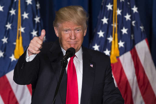 In this Wednesday, April 27, 2016 file photo, Republican presidential candidate Donald Trump gives a thumbs up after giving a foreign policy speech at the Mayflower Hotel in Washington.
