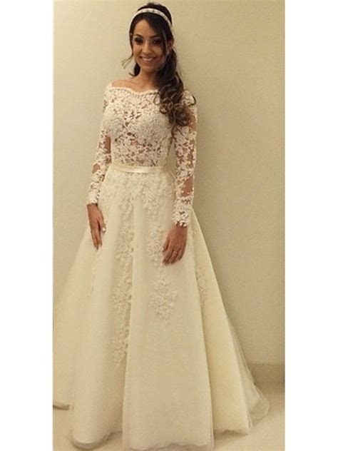 A Line Lace Long Sleeves Wedding Dresses Bridal Gowns 99603308