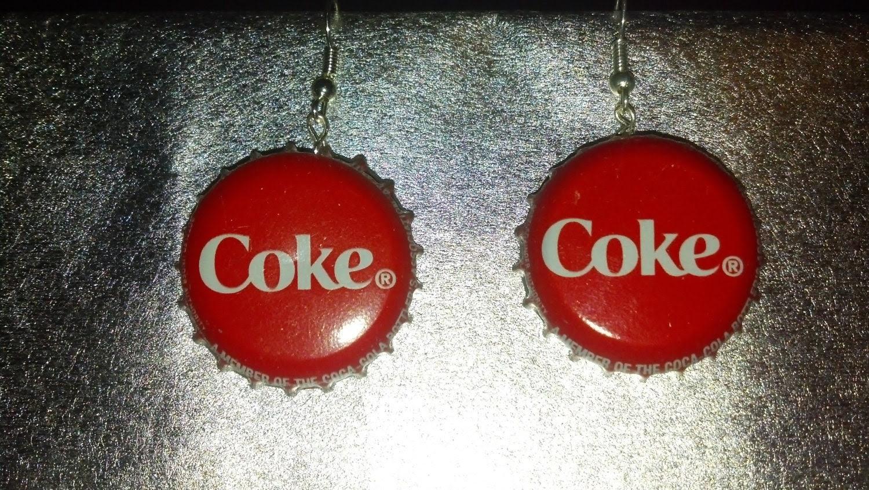 coke cap earrings on Etsy