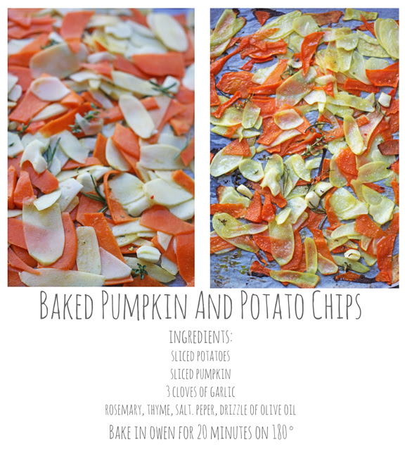 baked pumpkin and potato chips