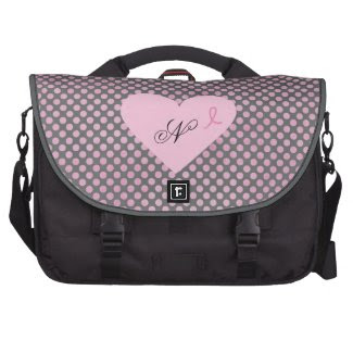 Pink Ribbon Awareness Gray and Pink Polka Dots Commuter Bag