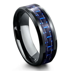 black tungsten carbide ring  blue black carbon fiber