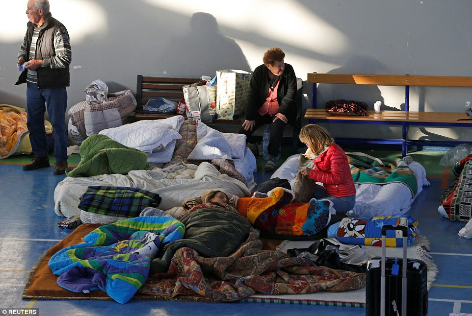 In Amatrice, many elderly and children spent the night inside a local sports facility with donated blankets and pillows