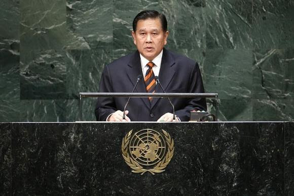 Thailand's Foreign Minister General Tanasak Patimapragorn addresses the 69th United Nations General Assembly at the U.N. headquarters in New York September 27, 2014. REUTERS/Eduardo Munoz