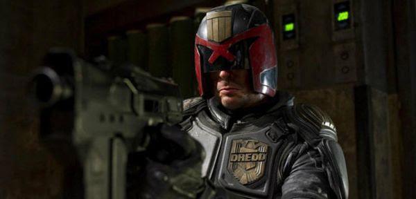 Karl Urban as Judge Dredd in 2012's DREDD.