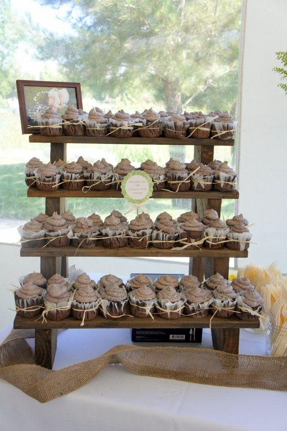 Weddings   The make Stand Wooden sign 4 Display Stand Cupcake wood  rustic Tiered    Rustic