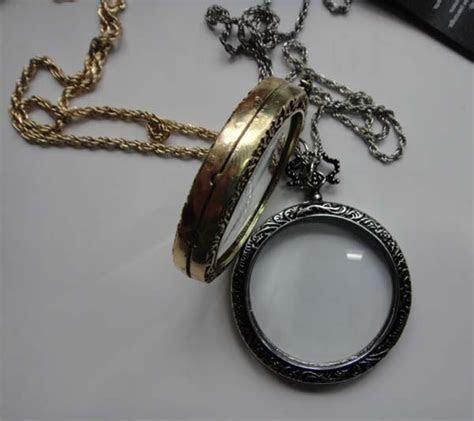 Vintage Monocle Necklace   Brass / Antique Gold Tone