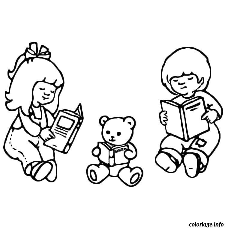 Coloriage Enfants Nounours Livres Jecoloriecom