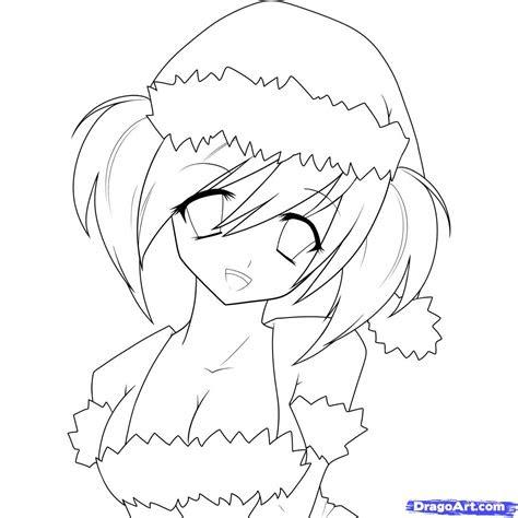 draw  anime christmas girl christmas girl step