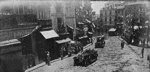 10 junio 1924. Visita de los Reyes de España e Italia a Toledo. Los Reyes de España e Italia entrando en Zocodover. Foto Rodríguez