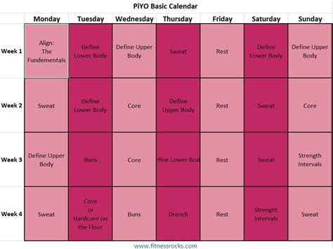 print workout calendar  piyo fitness rocks