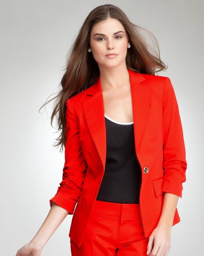 Bebe Gabriella 3/4 Ruched Sleeve Blazer HIGH RISK RED Size 4