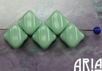 MINT+6x6mm+TwoHole+Diamond+Czech+Glass+Silky+by+AriaDesignStudio,+$5.00