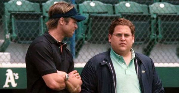 Brad Pitt and Jonah Hill in the 2012 Best Picture nominee, MONEYBALL.