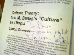 Iain Banks admits my genius